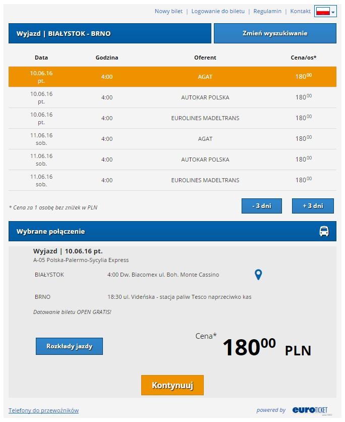 Bilety autokarowe Białystok Brno