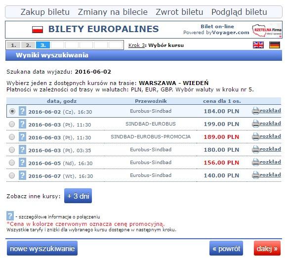 Bilety autokarowe Eurobus Warszawa Wiedeń