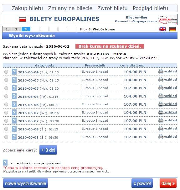 Bilety autokarowe Eurobus Polska Mińsk