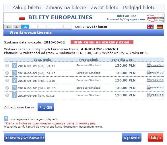 Bilety autokarowe Eurobus Polska Parnawa