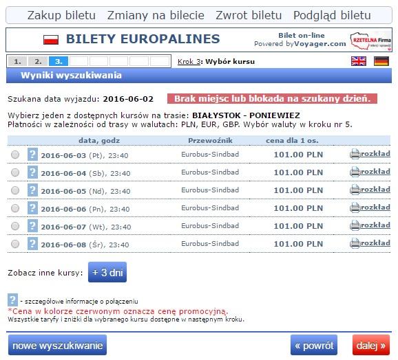 Bilety autokarowe Eurobus Polska Poniewież